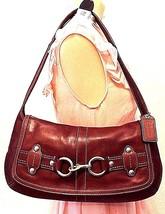 COACH Brown  Burgundy Leather Medium Slim Hobo Satchel Shoulder Bag Purs... - $38.01