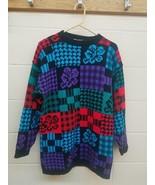 Vtg 80s 90s Neon Floral Colorblock Sweaterdress Large Black Blue Kawaii ... - $21.04
