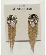 NWT AUTH ALEXIS BITTAR CRYSTAL ROCKY MEDALLION CHAIN FRINGE DROP EARRINGS - $140.24