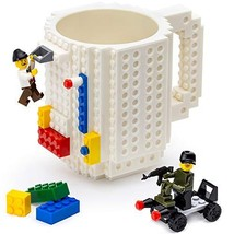 TOYAMBA Build-on Brick Mug - White Funny Coffee Mug with Building Bricks... - $14.08