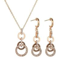 TwoLayer Size Circle of Love Earrings Necklace Jewelry Set image 2