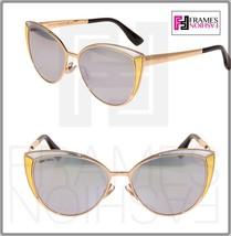 JIMMY CHOO DOMI Rose Gold Silver Mirrored Cat Eye Metal Leather Sunglasses - $237.90
