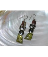 Estate Long Earth Tone Glass Cairn in Nonmagnetic Silver Frame Dangle Ea... - $15.79