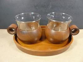 Vintage Mid Century Modern Teak Wood Glass Tray and Mug Cup Set - $29.99
