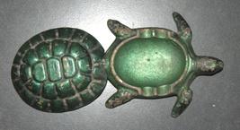 Vintage Bronze Green Ashtray Trinket Tray Box Turtle Tortoise image 4