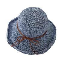 PANDA SUPERSTORE Summer Travel Beach Cap Women Vintage Folding Straw Hat Wide Br