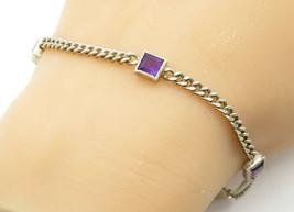 925 Sterling Silver - Vintage Petite Amethyst Curb Link Chain Bracelet -... - $32.12