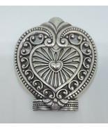Women's BRIGHTON Heart-shaped Metal Silvertone Scrollwork Night Light Cover - $12.99