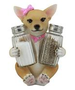 Ebros Spicy Bonita Pretty In Pink Girl Chihuahua Dog Glass Salt And Pepp... - $15.79