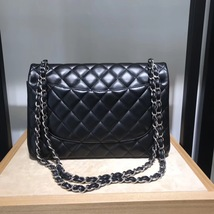 AUTHENTIC CHANEL BLACK LAMBSKIN QUILTED JUMBO DOUBLE FLAP BAG SILVER HARDWARE image 5