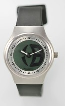 Fossil Mens Watch Big Tic Silver Stainless Steel Black Rubber 50m Batter... - $35.08