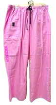 Scrub Star XL Pink Elastic Waist Drawstring Navy Trim Uniform Scrub Pant... - $19.57