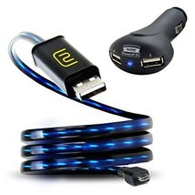 DATASTREAM Micro USB Cable with Blue LED Flowing Current AND PowerUP DC ... - $19.99