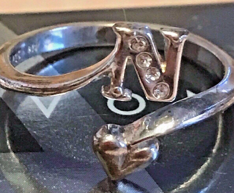 """Vintage Avon Initial """"N"""" 925 Sterling Silver Ring w Gemstones Adjustable"""