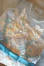 Girl Light Blue Flower Lace Dress High Waist Flower Girl Party Dress Birthday  image 9