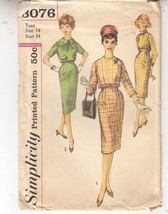 1960s Fitted Skirt Jacket Slim Teen Simplicity Sewing Pattern 3076 Size 14 - $14.84