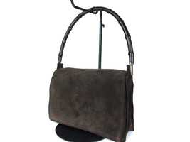 Authentic GUCCI Bamboo Suede Leather Dark Brown Shoulder Bag GS4235L - $149.00