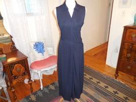 Talbots matte jersey dark navy long maxi belted shirt dress sz M 10-12 - $24.16