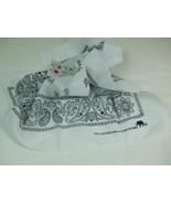"""White w Black Design Bandana Bib Neck Scarf 22"""" Square 100% Cotton Color... - $5.99"""