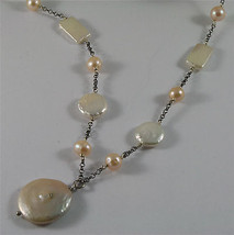 .925 SILVER RHODIUM NECKLACE 33,46 In, BAROQUE ROSE PEARL, ROUND & SPHERE SHAPE. image 1