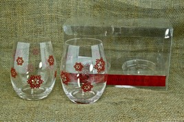 Cypress Set 2 Stemless Wine Goblet Glass Red Snowflakes Christmas Bar Dr... - €16,29 EUR