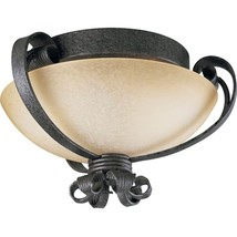 Swedish Iron Flush Ceiling Mount Light Stone Glass Progress Lighting P35... - $88.11