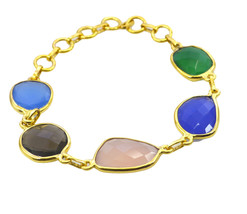 handsome Multi Gemstone Gold Plated Multi Bracelet Natural jewelry US gift - $17.86