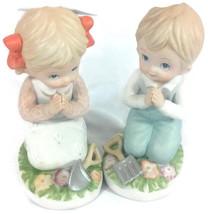 Vintage Homco Boy Girl Kneeling / Praying Figurines #1452 - $14.84