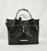 NWT Brahmin Small Mallory Leather Satchel/Shoulder Bag in Black Melbourne - $319.00