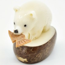 Hand Carved Tagua Nut Carving Polar Bear with Fish Figurine Made in Ecuador image 2