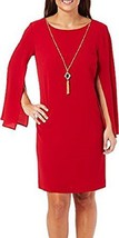 Womens AGB Bell Sleeve Cranberry Shift Dress with Gold Necklace Size 8 - $19.79