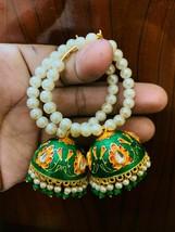 Kundan Jhumka with beg pearls bali earrings Green Lattest Desgins Jewele... - $36.62
