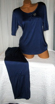 Dark Blue Pajama Set Stretch Harve Benard M L 3/4 Sleeves Relaxed Fit - $28.99