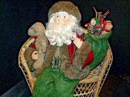 Christmas Santa Sitting on a Wicker Bench AA-191920 Collectible image 9