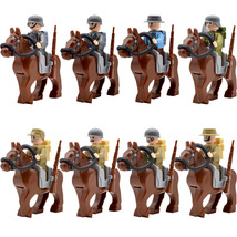 8pcs/set WW2 Cavalry Military Soldiers War Horse with Backpack Brown Blocks - $31.99