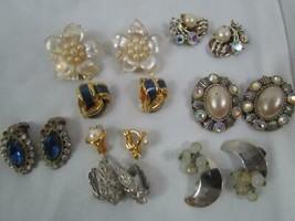Lot of 8 Sets Antique Vintage Clip Earrings Cono Radex Rhinestones Faux ... - $37.99
