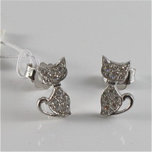 925 RHODIUM SILVER JACK&CO EARRINGS WITH KITTY CAT CUBIC ZIRCONIA MADE IN ITALY image 2