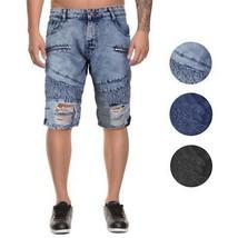 LR Scoop Men's Moto Quilted Distressed Skinny Slim Fit Jean Denim Shorts DZM-80