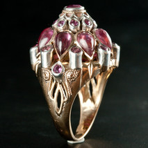 Vintage 1950's 10k Yellow & White Gold Ruby Dome Style Cocktail Ring 8.8... - $1,470.00
