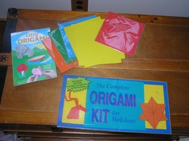 Lot of Easy Book & Primary Colors Paper Complete Origami Kit for Holiday... - $9.49