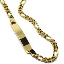 Bracelet or Jaune 18K 750, Plaque, Chaîne Figaro Alterné, Épaisseur 3.5mm image 2