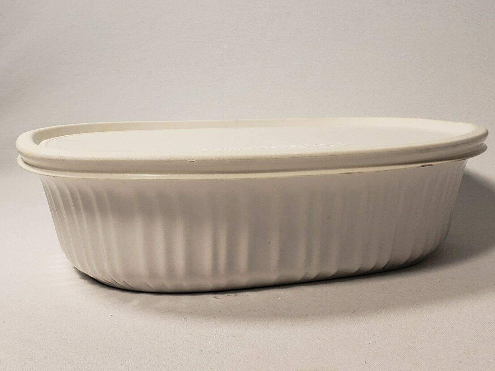 Corningware French White Oval Ceramic Bakeware 1-1/2 qt - 1.4 L Stoneware w/ Lid - $18.99