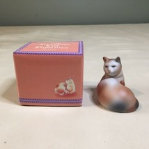 Vintage Avon 1984 Porcelain Calico Cat Figurine Small Orange Gray & White NEW - $9.89