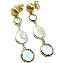 925 STERLING SILVER BIG PENDANT YELLOW EARRINGS 7.7cm, NUGGET, GLASS PASTE PEARL image 1