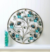 "Peacock Plumes Circular Candle Wall Sconce 23"" Diameter Wall Decor - $34.60"