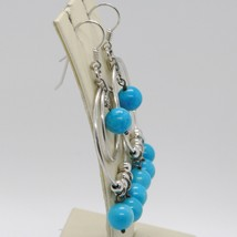 Silver Earrings 925 Tried and Tested with Jade Blue round and Circles Silver image 2