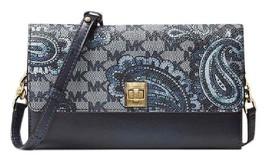 Navy Blue Leather Natalie Extra-large Heritage Paisley Wallet,crossbody,... - £141.54 GBP