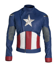 Avengers Endgame Captain America Vintage Costume Chris Evans Blue Leather Jacket image 1