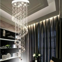 LED Spiral Crystal Chandelier Rain Drop Ceiling Lamp Lighting Pendant Li... - $288.00