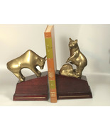 brass bull and bear bookends stock trader fund manager office organization - $84.34